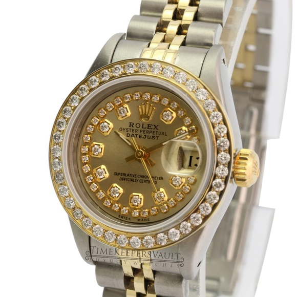 Rolex Accessories - Rolex Lady Datejust Champagne Diamond Dial 26mm